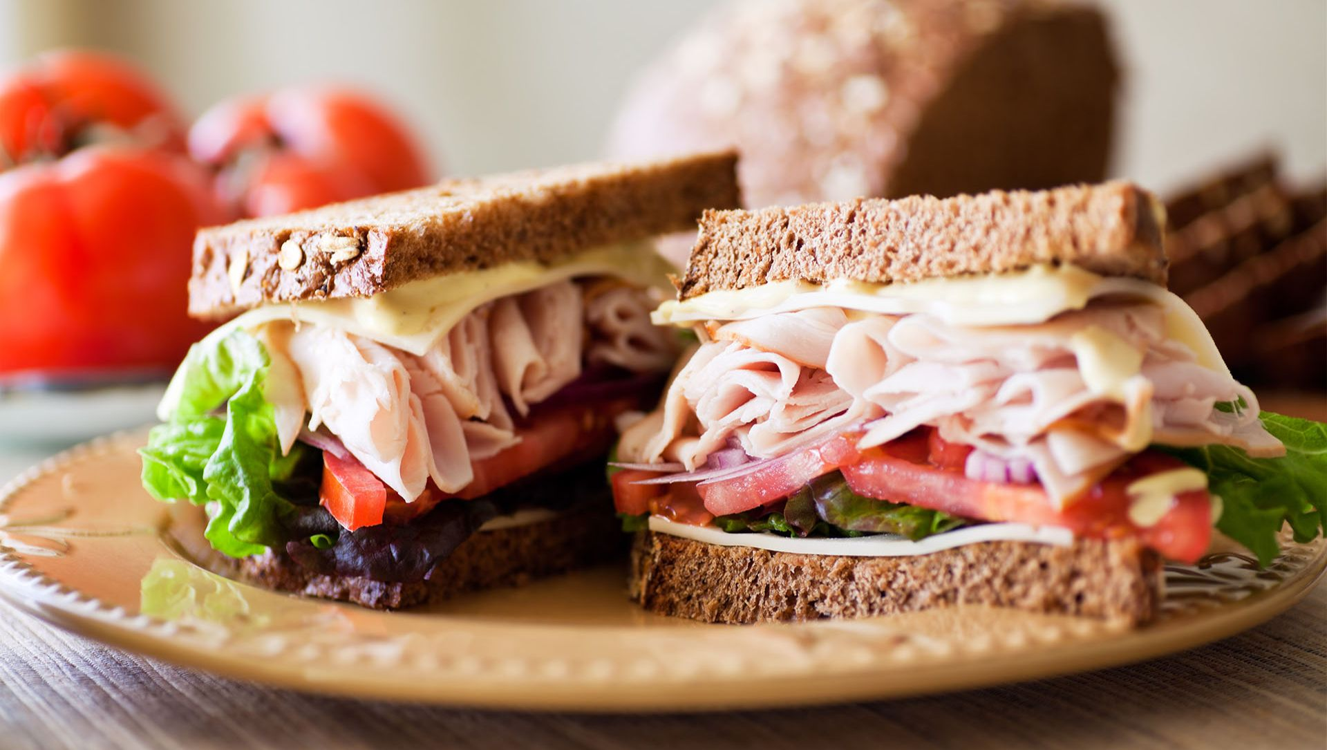 Close up of a turkey sandwich